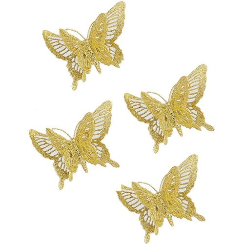 Christmas Tree Clip On Decorations - Gold Butterfly Pack of 4