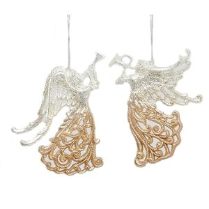 Christmas Tree Hanging Decorations - Champagne Angel Pack of 2
