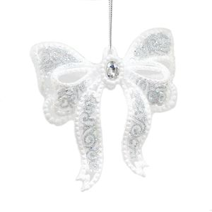 Bow Hanging Tree Decoration (White & Silver) x2