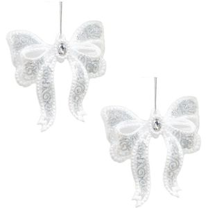 Christmas Tree Hanging Decorations - White & Silver Bow Pack of 2