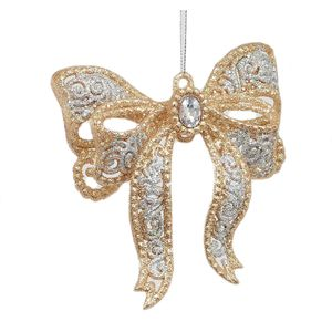 Bow Hanging Tree Decoration (Gold & Silver) x2