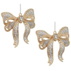 Christmas Tree Hanging Decorations - Gold & Silver Bow Pack of 2