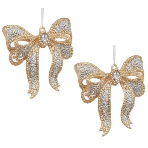 Christmas Tree Hanging Ornaments - Gold & Silver Bow Pack of 2
