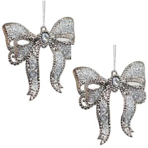 Christmas Tree Hanging Decorations - Pewter & Silver Bow Pack of 2