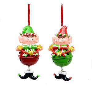 Set of 2 Cheeky Elves Christmas Jingle Tree Decorations