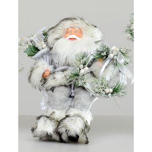 Christmas Decoration - Plush Sitting Santa 30cm (Silver & Black)