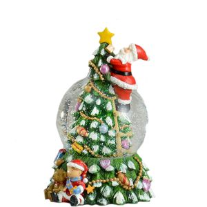 Santa Decorating Xmas Tree Wind Up Musical Snow Globe Decoration