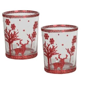 Aromatize Votive Candle Holders Set of 2: Red Reindeers
