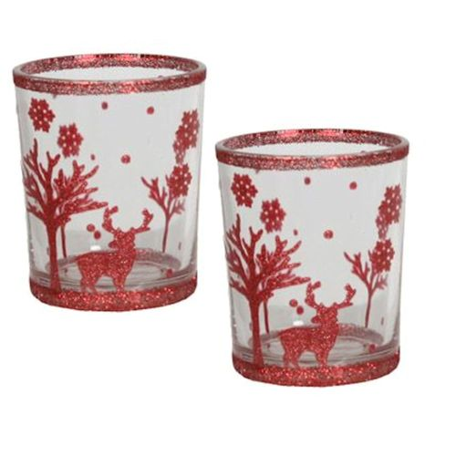 Aromatize Red Reindeer Christmas Votive Holders Set of 2