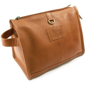 British Bag Co Leather Wash Bag: Rutland Range (Tan)