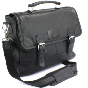 The British Bag Company Black Leather Briefcase