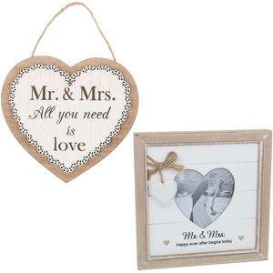 Mr & Mrs Wedding Photo Frame & Plaque Gift Set