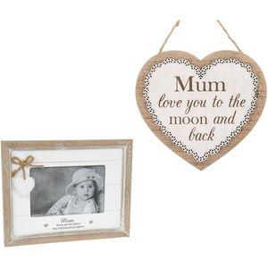 Mum Sentiment Photo Frame & Heart Plaque Gift set