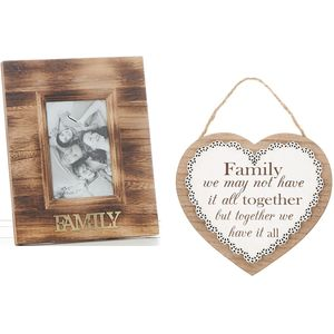 Family Photo Frame & Heart Plaque Gift set