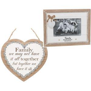 Sentiment Family Photo Frame & Heart Plaque Gift set