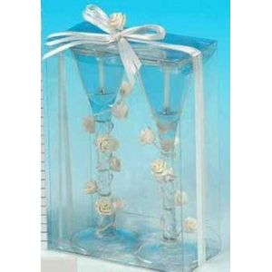 Champagne Glass Candles with White Roses 12 Pack