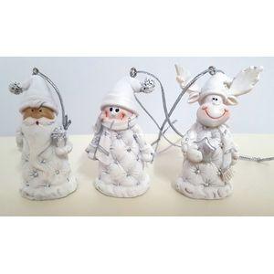 Set of 3 Xmas Ornaments Snowman Deer & Santa