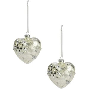 Weiste Christmas Tree Decorations Set of 2 - Ice Flower Glass Heart Pearls
