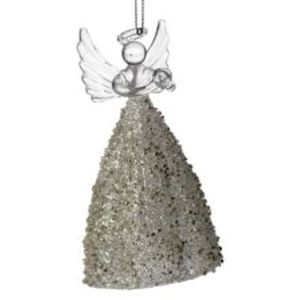Weiste Christmas Tree Decoration - Glass Angel with Gold Beaded Dress