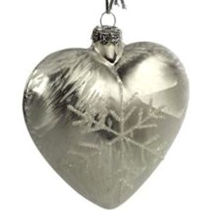 Glass Heart with Snowflake set of 2 Tree Decorations