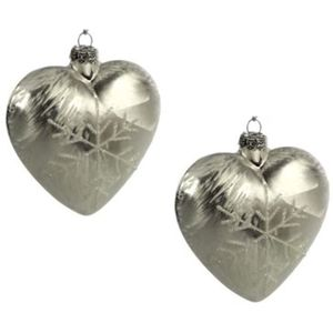 Weiste Christmas Tree Decorations Set of 2 - Glass Heart Bauble with Snowflake