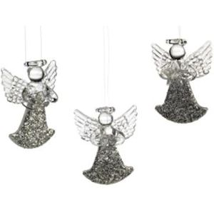 Weiste Christmas Tree Decorations Set of 3 - Glitter Glass Angels