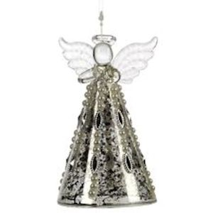 Glass Angel Christmas Tree Hanging Decoration 12cm