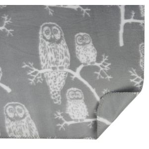 Owl Fleece Blanket 130x170cm (White)