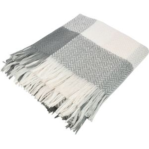 Checkered Throw 125x150cm (Grey/White/Pale Pink)