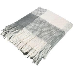 Weiste Checkered Throw 125cm x150cm - Grey White & Pale Pink