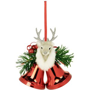 Weiste Christmas Tree Decoration - Red Mini Bells with Reindeer