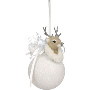 Snow Glitter Ball with Reindeer Set of 2 Tree Decs