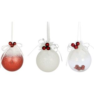 4 x Snow Xmas Tree Baubles with Red Berries