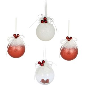 Weiste Christmas Tree Decorations Set of 4 - Red & White Bauble with Berries