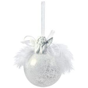 Snow frosted ball with angel. Feathers & Bow x2