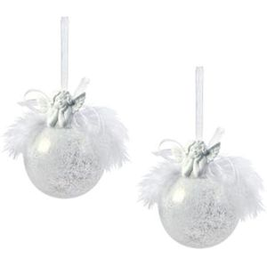 Weiste Christmas Tree Decorations Set of 2 - Snow Frosted Ball with Angel