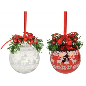Print Ball red/clear with berries Set of 4 Tree Decs
