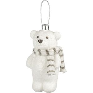 Snow Glitter Teddy Bear with Beige & White Scarf x2