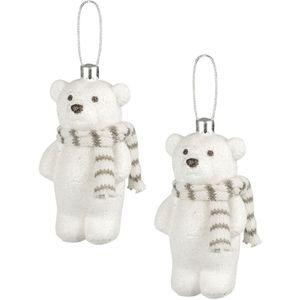 Weiste Christmas Tree Decorations Set of 2 - Snow Glitter Bear Beige