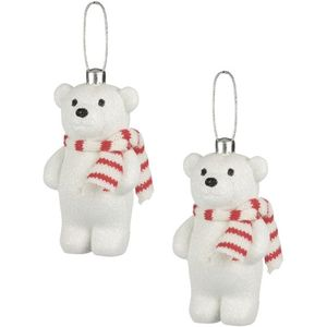 Weiste Christmas Tree Decorations Set of 2 - Snow Glitter Bear Red