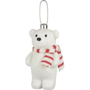 Weiste Hanging Christmas Tree Decorations (Set of 2) - Snow Glitter Bear Red
