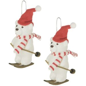 Weiste Christmas Tree Decorations Set of 2 - Skiing Teddy Bear with Hat & Scarf