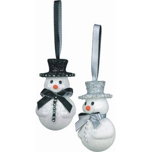 2 asst Snowmen with Top Hats & Bow Ties Tree Decs