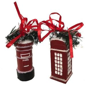 Weiste Christmas Tree Decorations Set of 2 - Red British Phone Box & Mail Box