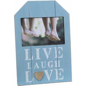 "Wooden Sentiment Photo Frame 5.5 x 3.5"" - Live Laugh Love"