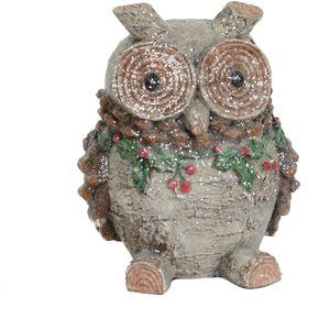 Christmas Decoration - Carved Glitter Ornament Festive Owl 19cm