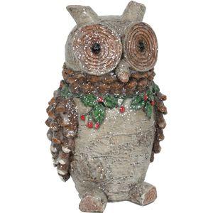 Christmas Decoration - Carved Glitter Ornament Festive Owl 24cm