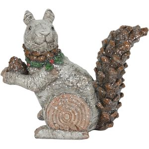 Christmas Decoration - Carved Glitter Ornament Festive Squirrel
