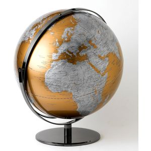 Gold & Silver Geographical World Globe 43 cm