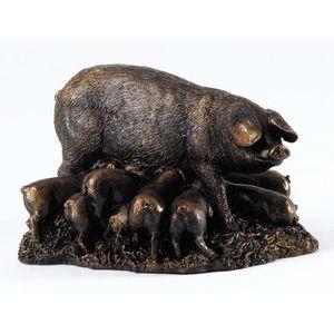 Langholm Design Sow & Piglets Bronzed Figurine